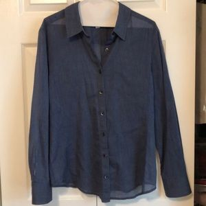 Lightweight button down blouse with front pocket